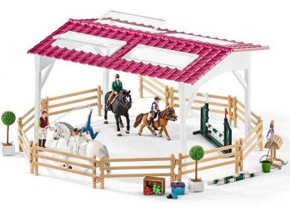 SCHLEICH Mobilní veterina s jízdárnou velký herní set s koníky 39 dílků plast  + Dárek zdarma