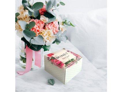 Rose gold dámské hodinky MINET PRAGUE Black Flower s čísly  + Dárek zdarma