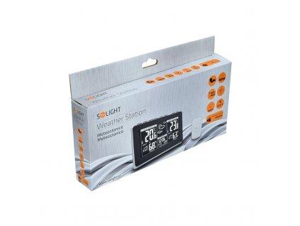Solight meteostanice, extra velký LCD displej, teplota, vlhkost, RCC, černá, stříbrná, teplotní alarm  + Nanopodložka, loupač, nebo desinfekce