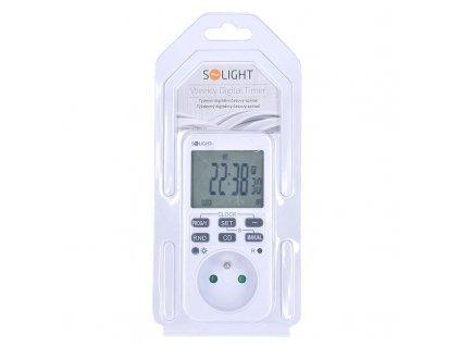 Solight digitální týdenní časový spínač, 16 režimů, podsvícený velký LCD