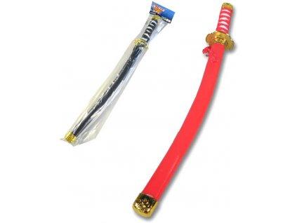 Meč dětský Ninja samurajský 62cm 2 barvy v sáčku plast