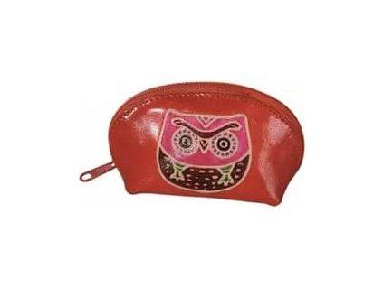 Kožená peněženka se sovou (Oranžová - růžová sova)