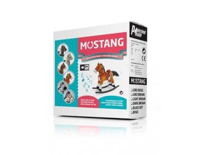 Houpací koník s melodií Milly Mally Mustang bílo-černý puntíkovaný - bílá  + Dárek zdarma