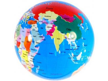 Míč glóbus 23cm potištěný balon zeměkoule v síťce