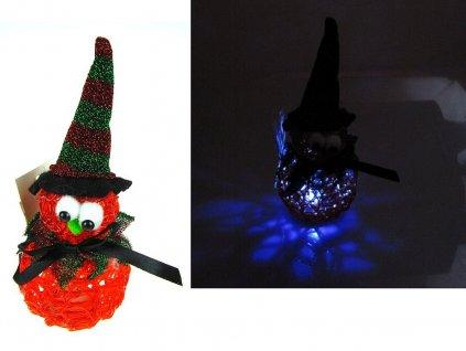 LED sněhulák s kloboukem měnící barvu