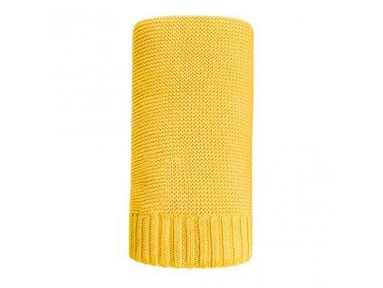 Bambusová pletená deka NEW BABY 100x80 cm - žlutá