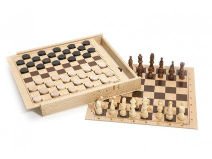 Jeujura Šachy a dáma v dřevěné krabici  + Dárek zdarma