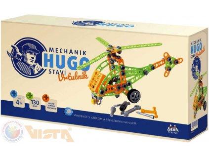 SEVA Mechanik Hugo staví Vrtulník STAVEBNICE 130 dílků set s nářadím v krabici