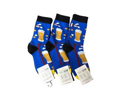Dámské ponožky s motivem piva, modré