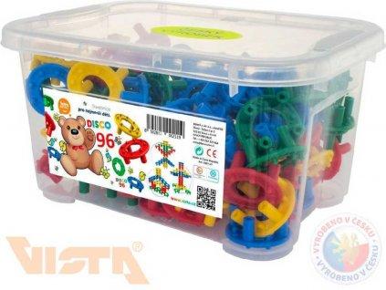 SEVA Stavebnice plastové kroužky DISCO set 96 dílků v boxu pro nejmenší