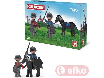 EFKO IGRÁČEK TRIO Dva rytíři a černý kůň v krabičce STAVEBNICE