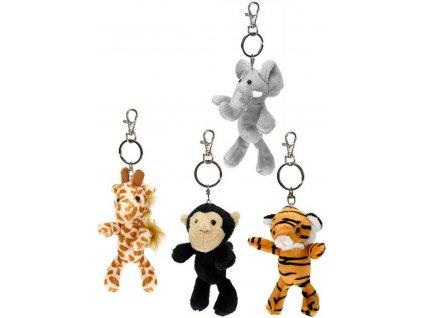 PLYŠ Přívěšek na klíče zvířátko safari dětská klíčenka s karabinkou různé druhy