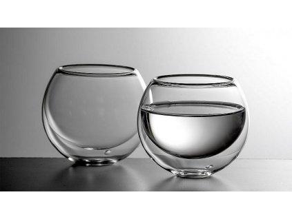 Luxusní kulatá dvoustěnná sklenička na nápoje BULBUS - dárková sada 2ks  + Dárek zdarma