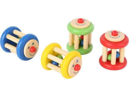 Displej- Dřevěné chrastítko - Klaun 1 ks žlutá Displej- Dřevěné chrastítko - Klaun 1 ks žlutá