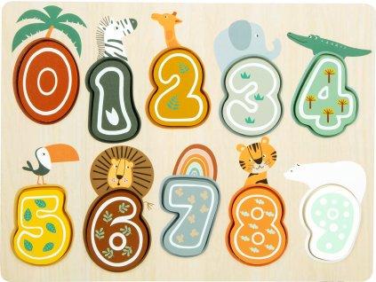 Small Foot Vkládací puzzle čísla Safari