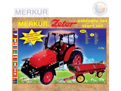 MERKUR Zetor základní set traktor + vlek 646 dílků *KOVOVÁ STAVEBNICE*  + Nanopodložka, loupač, nebo desinfekce