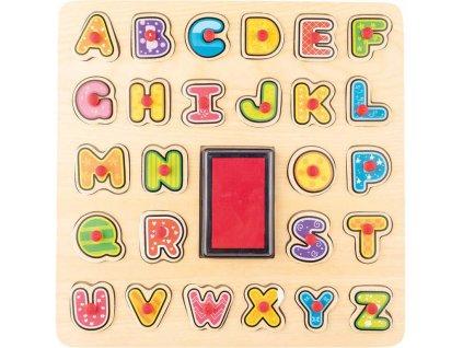 WOODY DŘEVO Razítka puzzle vkládací s úchyty 2v1 abeceda set 26ks s poduškou