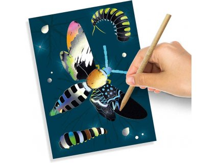 SES CREATIVE Obrázky vyškrabávací holografické set 6 karet s rydlem