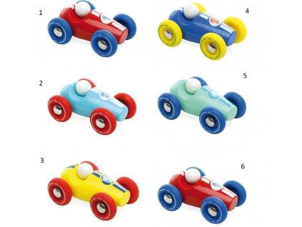 Vilac Dřevěné závodní mini auto 1 ks číslo modré se žlutými koly Vilac Dřevěné závodní mini auto 1 ks číslo modré se žlutými koly