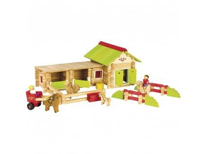 Jeujura Dřevěná stavebnice 180 dílků jízdárna