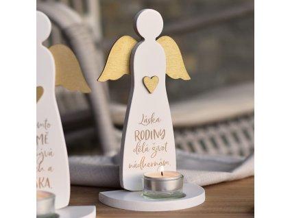 HOUSEDECOR Svícen Anděl se srdcem - Láska rodiny