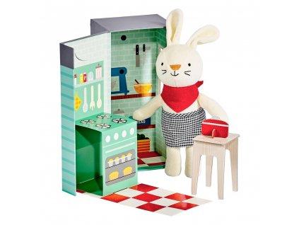 Petit Collage Plyšový králíček v kuchyni