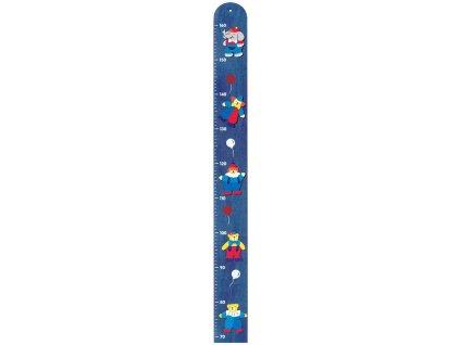 BINO DŘEVO Metr dětský nástěnný modrý s obrázky cirkus do 160cm