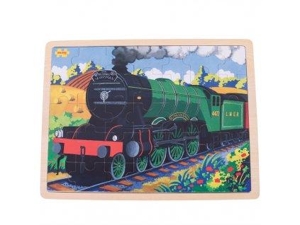 Bigjigs Toys Dřevěné puzzle historický vlak Flying Scotsman 35 dílků