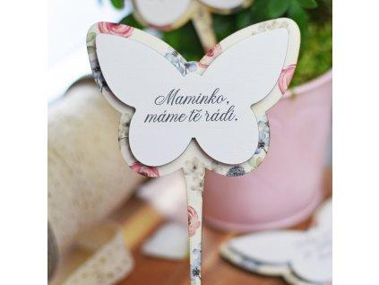 Zápich do květináče motýl - Maminko, máme tě rádi.