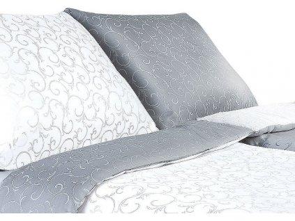 Povlečení damašek Ornella šedá/bílá DUO 140x200 cm povlak - bavlna  + Dárek zdarma