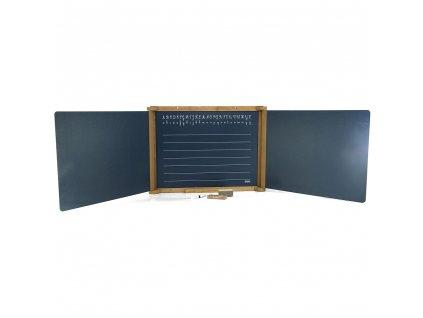 Jeujura Dřevěná trojkřídlá multifunkční tabule 156x43 cm s příslušenstvím  + Dárek zdarma