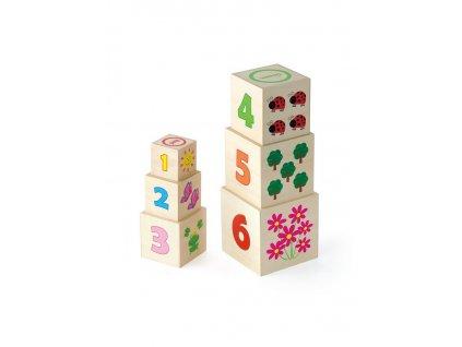 Dřevěná pyramida pro děti Viga - multicolor
