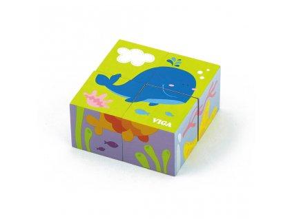 Dřevěné puzzle kostky pro nejmenší Viga Velryba - multicolor
