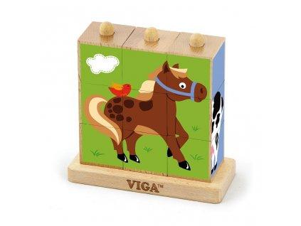 Dřevěné puzzle kostky na stojánku Viga Farma - multicolor