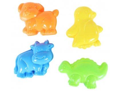 Formičky barevné zvířátka set 4ks bábovičky na písek v síťce