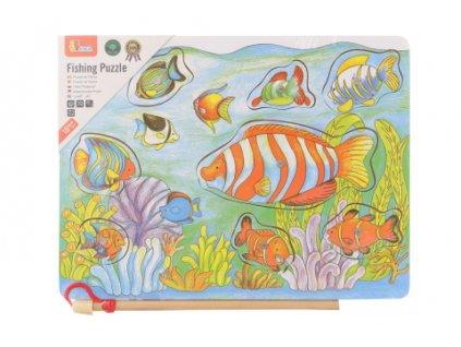 Dřevěné vkládačka rybičky na magnet