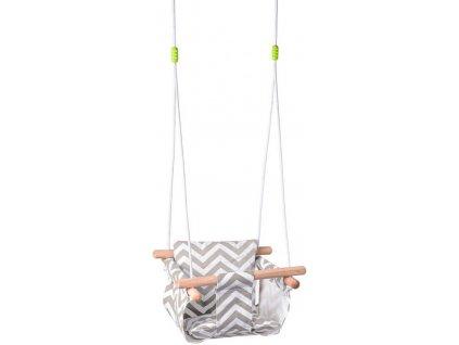 WOODY DŘEVO Baby houpačka závěsná textilní s polštářkem