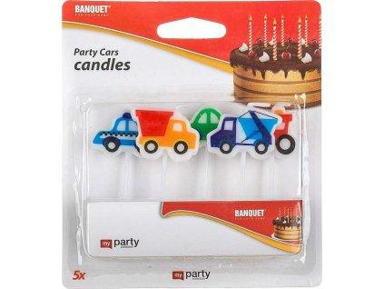 Svíčky narozeninové PARTY Cars, 5 ks