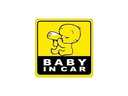 Nálepka na auto Baby in car - dítě pije z láhve - žlutá