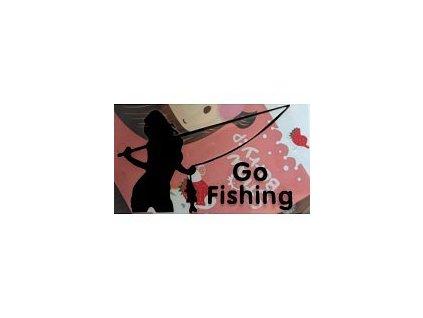 Nálepka na auto - sexy žena s prutem Go Fishing - černá