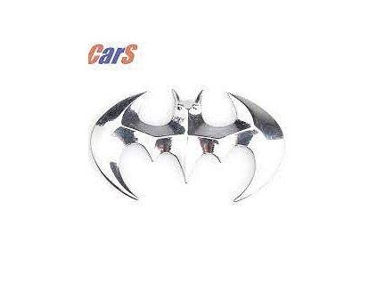 Nálepka na auto - 3D znak Batman - stříbrná