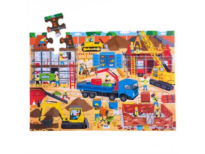 Bigjigs Toys Podlahové puzzle Staveniště 48dílků