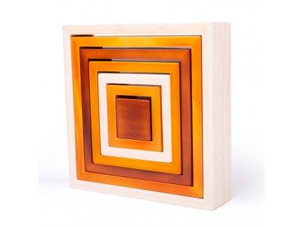 Bigjigs Baby Dřevěné skládací čtverce  + Dárek zdarma