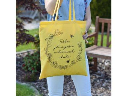 Bavlněná taška - Taška plná práce domácích úkolů.