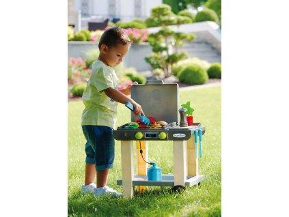 ECOIFFIER Baby gril zahradní plynový se stolečkem set s doplňky plast