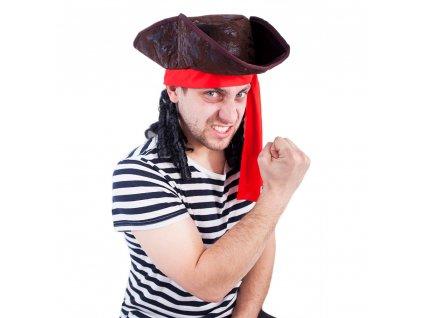 Klobouk pirát s vlasy dospělý