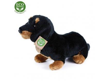 Plyšový pes jezevčík sedící 30 cm ECO-FRIENDLY