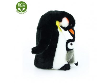 Plyšový tučňák s mládětem 22 cm ECO-FRIENDLY
