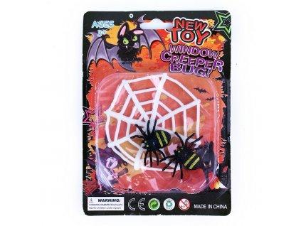 Pavučina s pavouky - dekorace na Halloween
