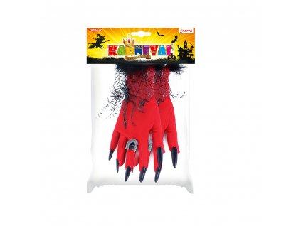 Rukavice Halloween červené pro dospělé